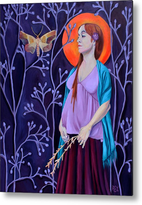 Pregnant Metal Print featuring the painting Woman With Child And Wildflowers by Renee Thompson