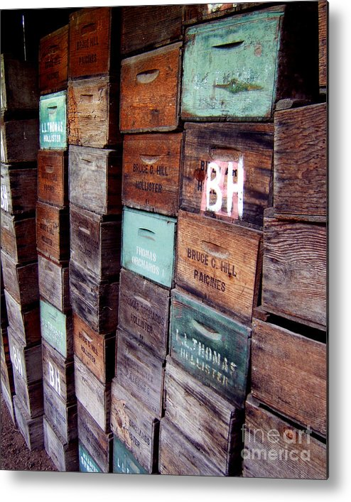 Artoffoxvox Metal Print featuring the photograph Wooden Produce Boxes Photograph by Kristen Fox
