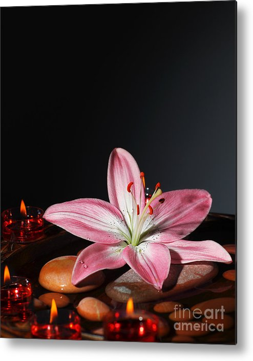 Still Life Metal Print featuring the photograph Zen Atmosphere At Spa Salon by Anna Om