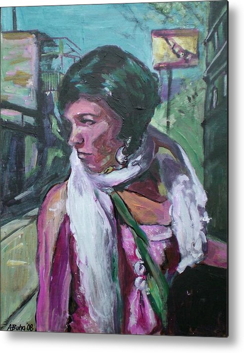 Metal Print featuring the painting Girl With White Shawl by Aleksandra Buha