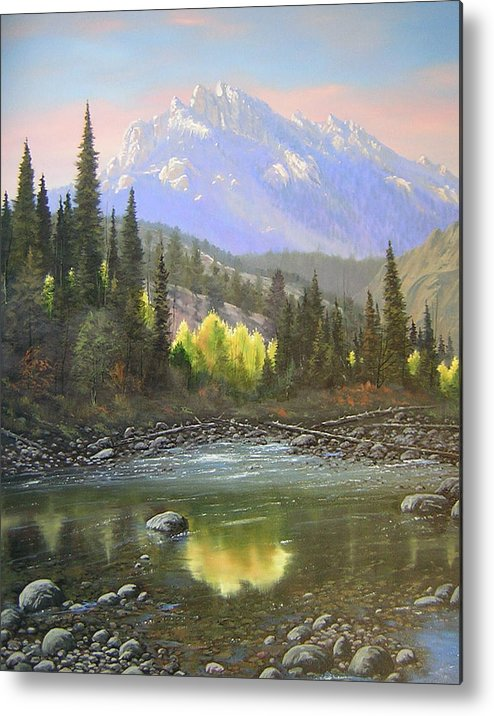 Landscape Metal Print featuring the painting 060409-2430 Long Scraggy Mountain - Reflections  by Kenneth Shanika