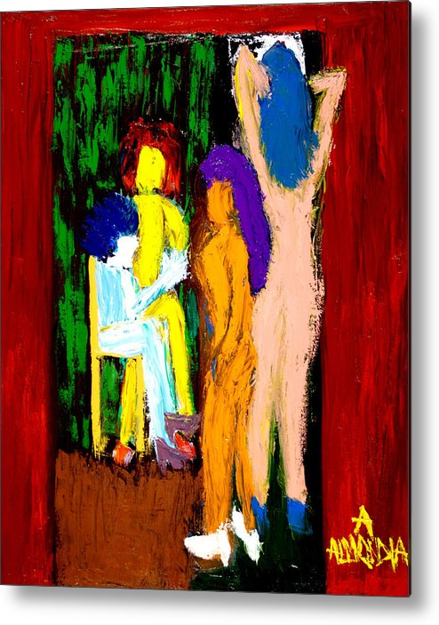 Women Metal Print featuring the painting Backstage Drama by Albert Almondia