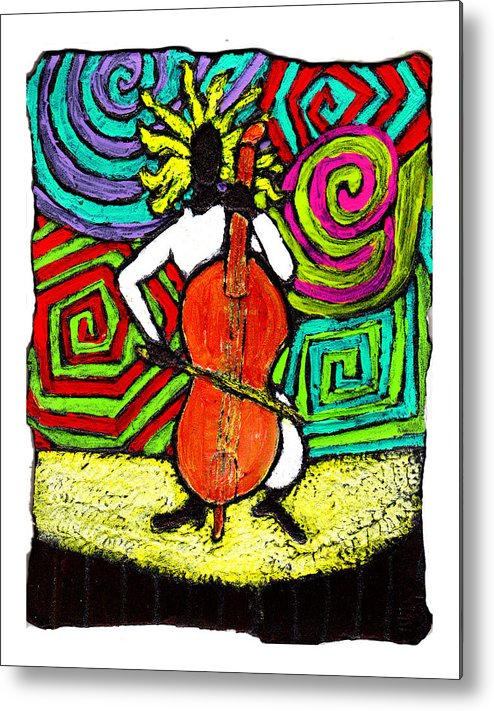 Music Metal Print featuring the painting Cello Soloist by Wayne Potrafka