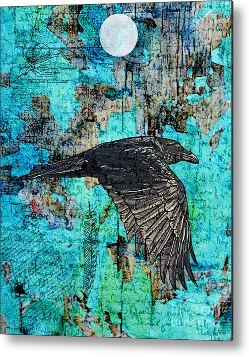 Raven Metal Print featuring the digital art Flypast by Judy Wood