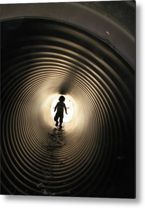 Silhouette Metal Print featuring the photograph Light At The End Of The Tunnel by Helaine Cummins