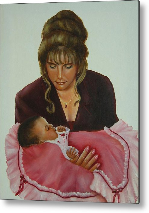 Portrait Metal Print featuring the painting Mother And Child by Joni McPherson