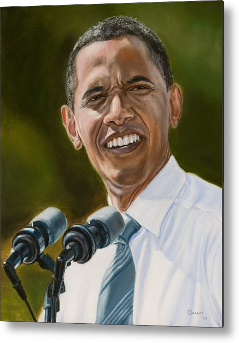 President Barack Obama Metal Print featuring the painting President Barack Obama by Christopher Oakley