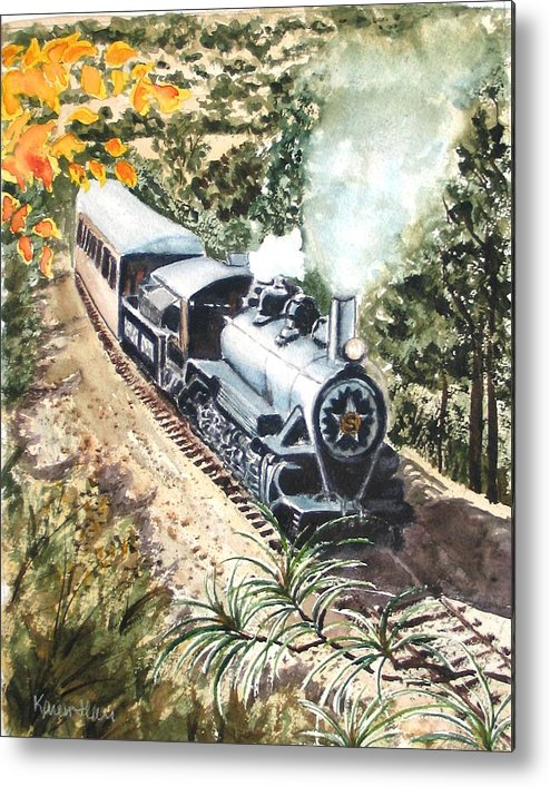 Trains Metal Print featuring the painting Round The Bend by Karen Ilari