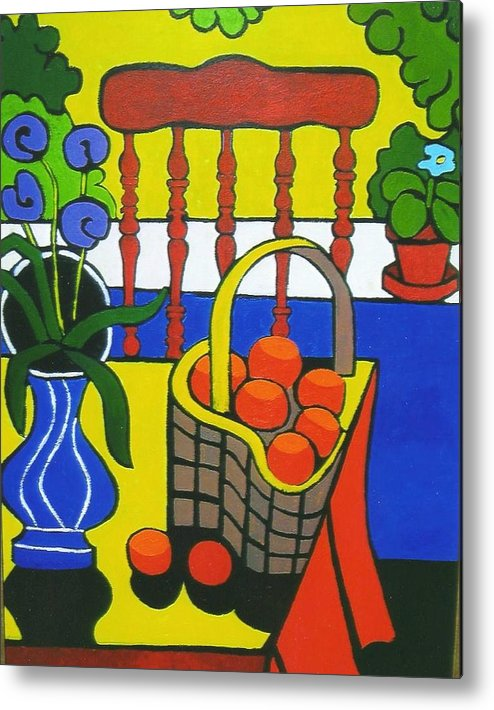 Still Life Metal Print featuring the painting Still Life With Red Chair And Oranges by Nicholas Martori