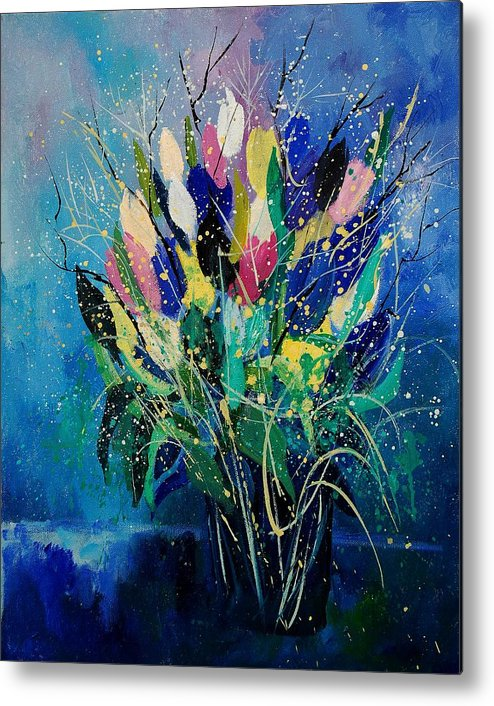 Flowers Metal Print featuring the painting Tulips 45 by Pol Ledent