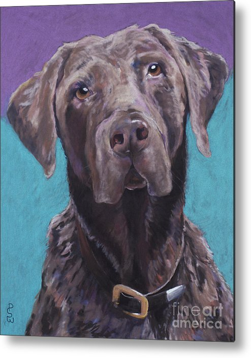 Pet Portrait Commissions Metal Print featuring the pastel 100 Lbs. Of Chocolate Love by Pat Saunders-White