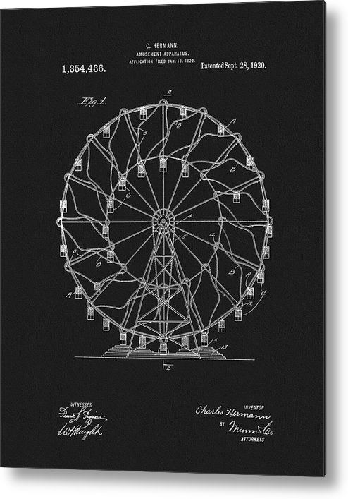 1920 Ferris Wheel Patent Metal Print featuring the mixed media 1920 Ferris Wheel 1920 by Dan Sproul