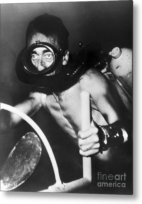1954 Metal Print featuring the photograph Jacques Cousteau (1910-1997) by Granger