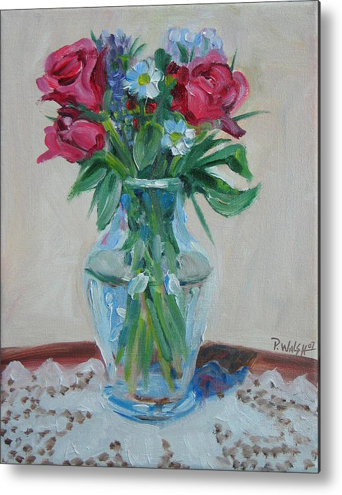 Roses Metal Print featuring the painting 3 Roses by Paul Walsh