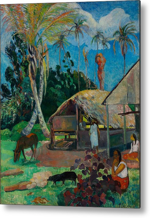 Paul Gauguin Metal Print featuring the painting The Black Pigs by Paul Gauguin