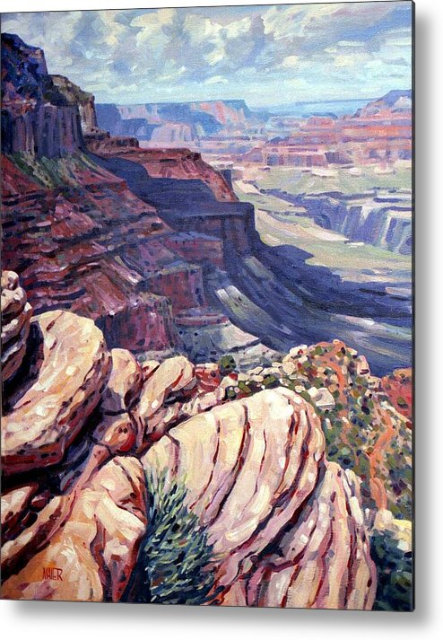 Grand Canyon Metal Print featuring the painting Canyon View by Donald Maier
