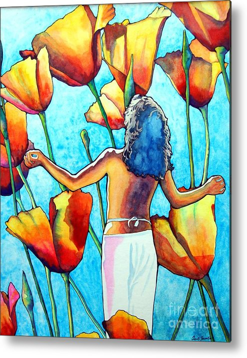Woman Metal Print featuring the painting 60s Meditation by Gail Zavala