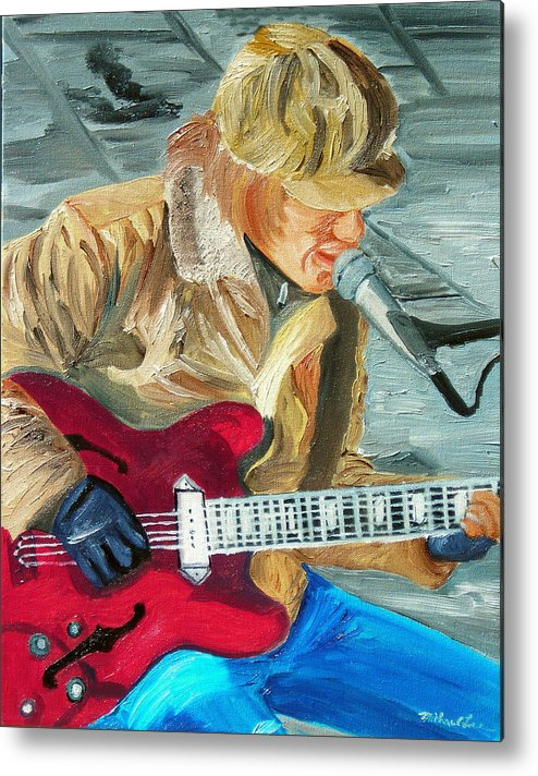 Street Musician Metal Print featuring the painting A Cold Day To Play by Michael Lee