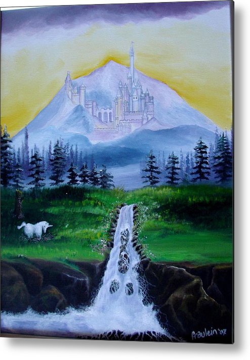 Landscape Metal Print featuring the painting A Fairytale by Glory Fraulein Wolfe