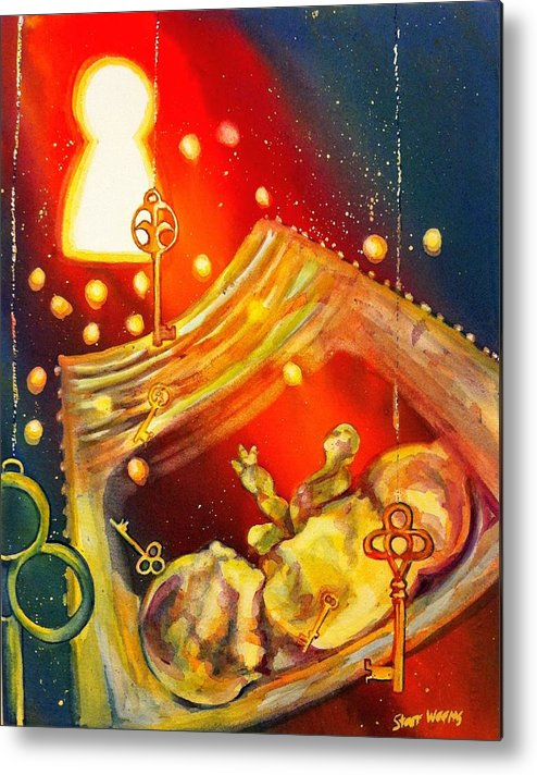 Ultrasound Metal Print featuring the painting A Glimpse Through The Keyhole by Starr Weems