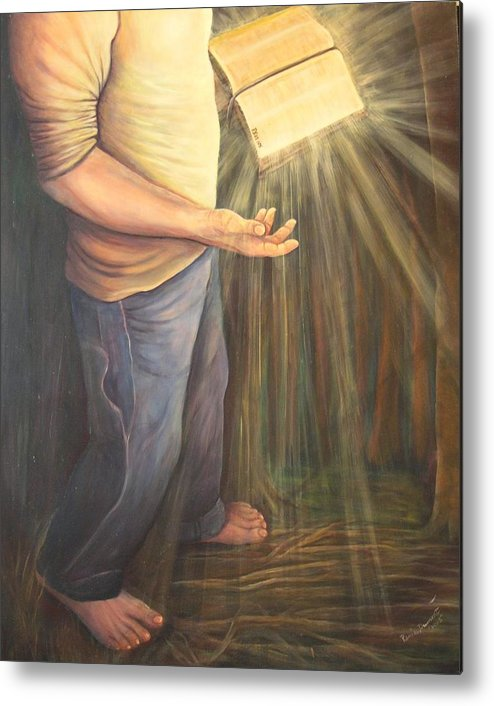 Contemporary Metal Print featuring the painting A Lamp Unto My Feet by Renee Dumont Museum Quality Oil Paintings Dumont