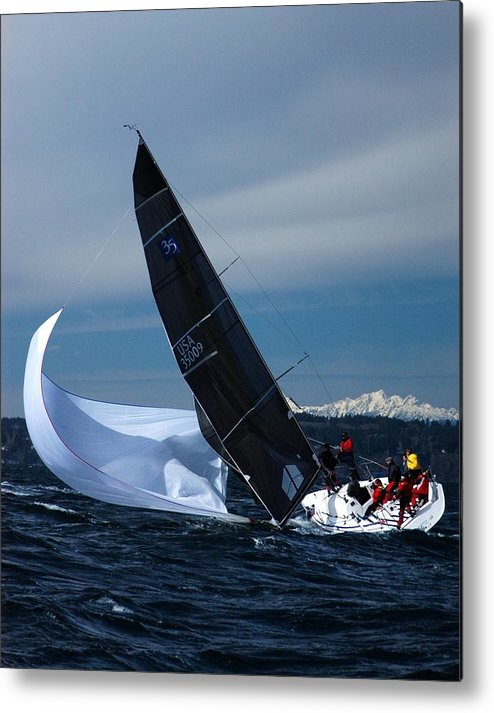 Yacht Metal Print featuring the photograph A Troublesome Spinnaker by Owen Ashurst