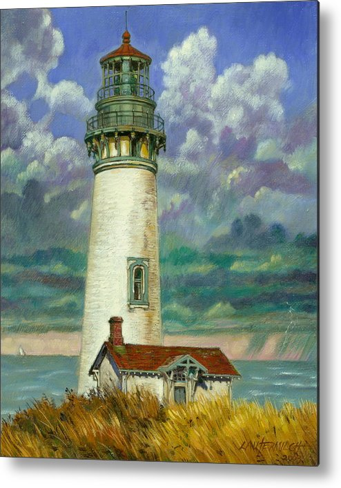 Lighthouse Metal Print featuring the painting Abandoned Lighthouse by John Lautermilch