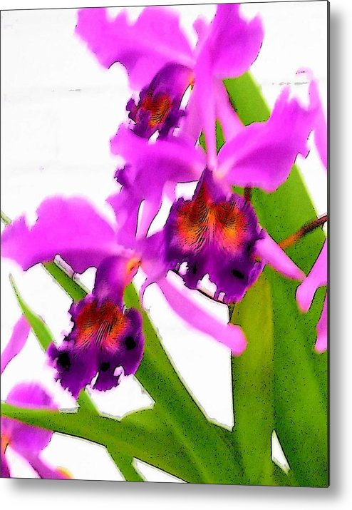Flowers Metal Print featuring the digital art Abstract Iris by Anita Burgermeister