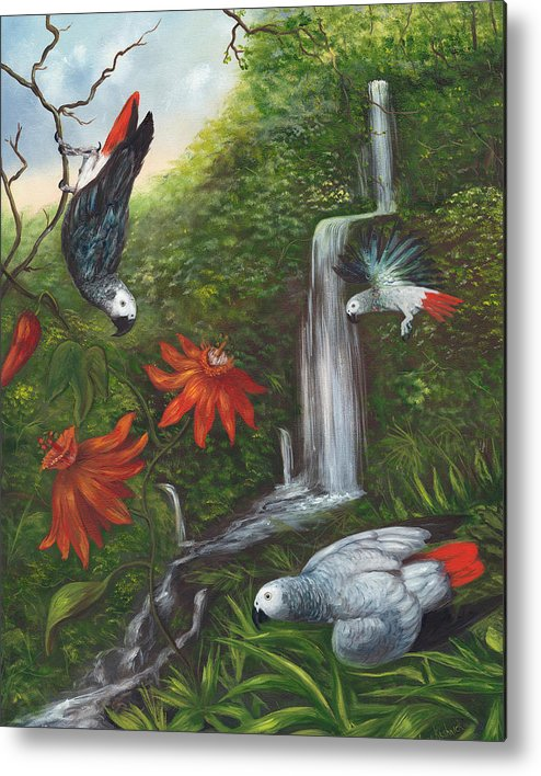Landscape Metal Print featuring the painting African Grays by Anne Kushnick