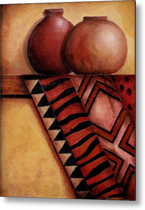 African Metal Print featuring the painting African Touch by Jun Jamosmos