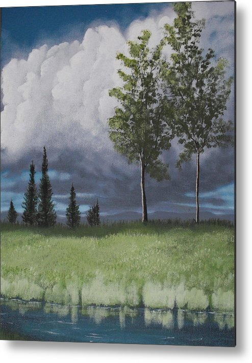 Landscape Metal Print featuring the painting After The Storm by Candace Shockley