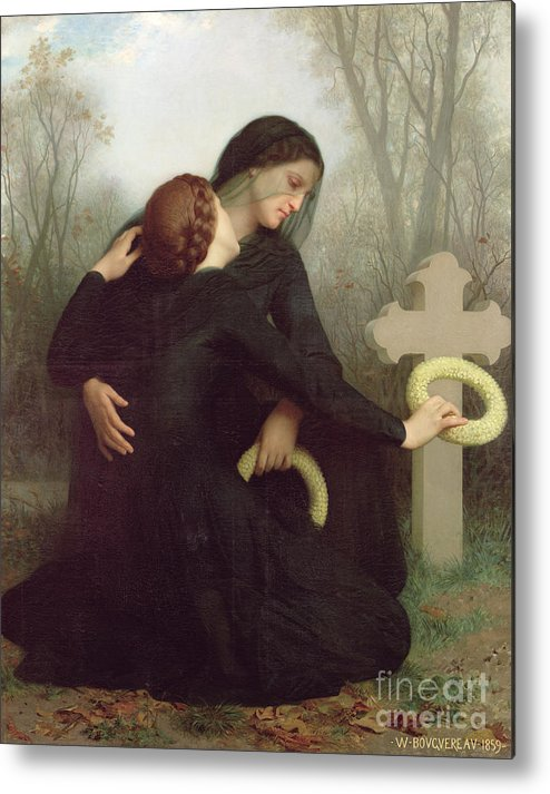 Le Jour Des Morts (all Saints Day) 1859 (oil On Canvas) By William-adolphe Bouguereau (1825-1905) Le Jour Des Morts; Female; Widow; Mourning; Grave; Cemetery; Gravestone; Tombstone; Black Veil; Child; Mother; Daughter; Sadness; Sorrow; Day Of The Dead; 1 November; Grave Metal Print featuring the painting All Saints Day by William Adolphe Bouguereau