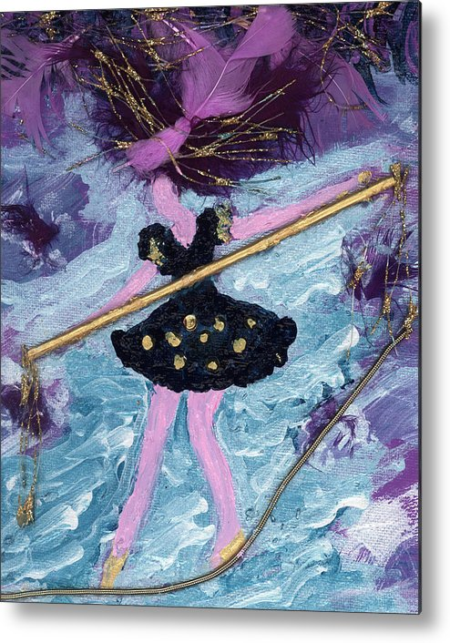 Women Metal Print featuring the painting Althea Balances Her Life After Chemo by Annette McElhiney