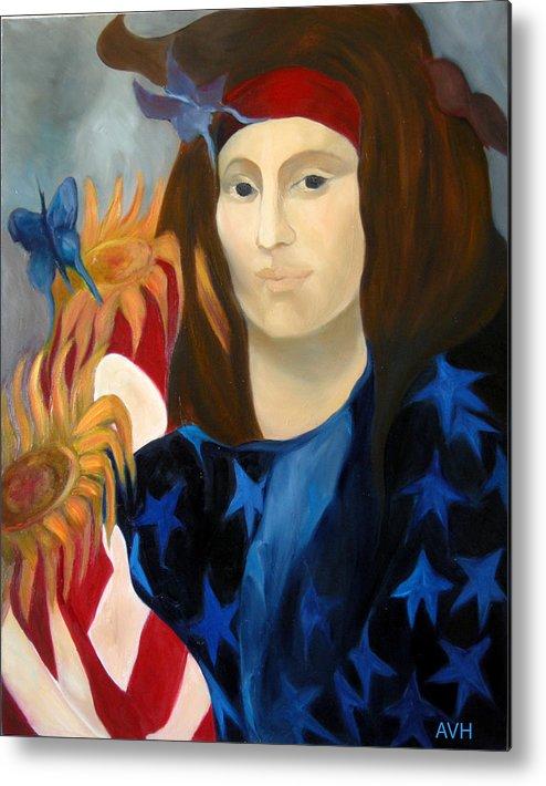 Figurative Metal Print featuring the painting American Jokonda by Antoaneta Melnikova- Hillman