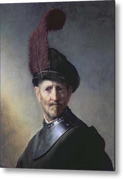 Old Metal Print featuring the painting An Old Man In Military Costume by Rembrandt
