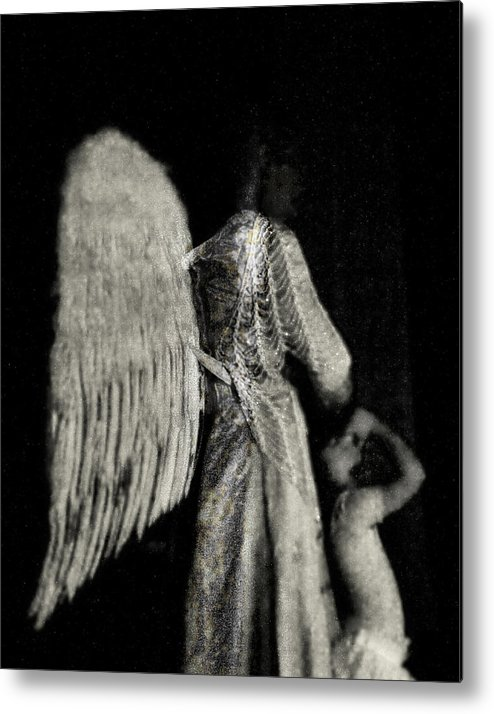 Digital Photography Metal Print featuring the photograph Angel Bw by Tony Wood