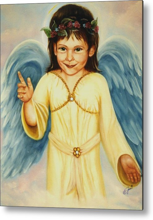 Portrait Metal Print featuring the painting Angel In Yellow by Joni McPherson