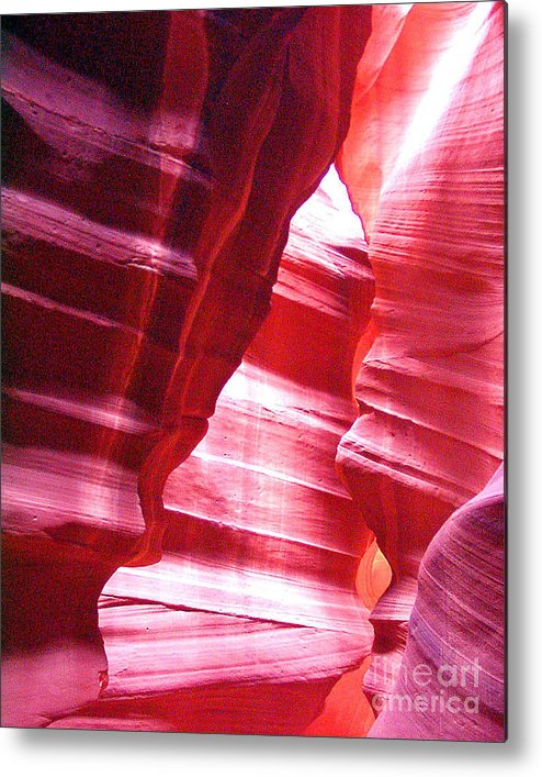 Antelope Slot Canyon Photographs Metal Print featuring the photograph Antelope Slot Canyon Varying Colors From Impinging Sunlight by Merton Allen