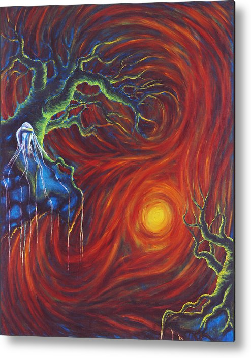 Tree Paintings Metal Print featuring the painting Anxiety by Jennifer McDuffie