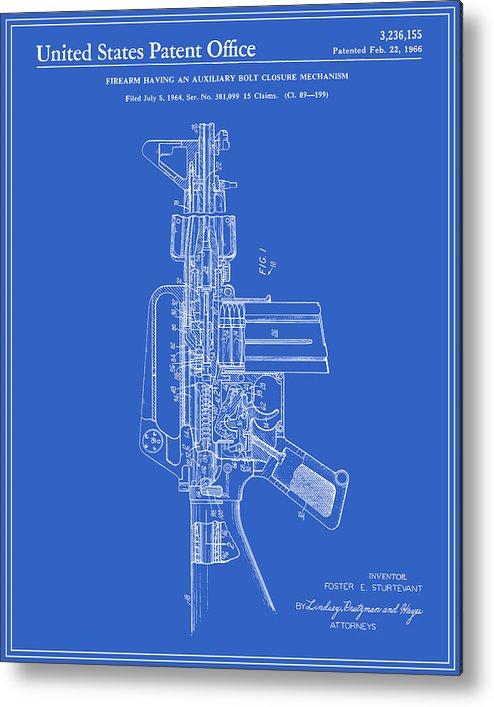 Ar 15 semi automatic rifle patent blueprint metal print by finlay patent metal print featuring the digital art ar 15 semi automatic rifle patent malvernweather Choice Image