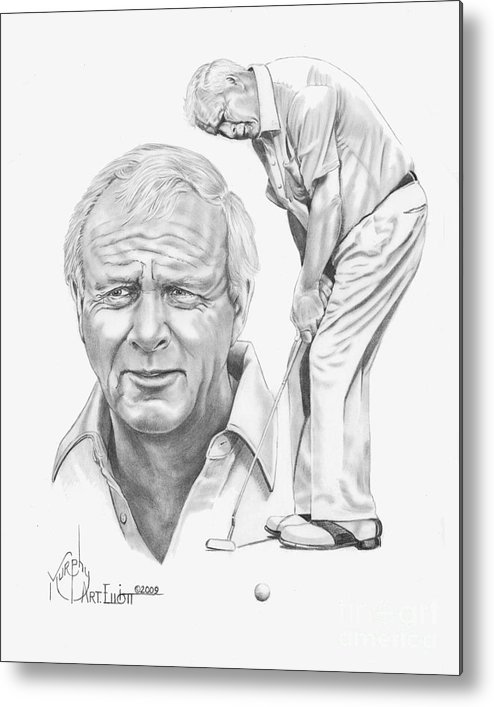 Arnold Palmer Metal Print featuring the drawing Arnold Palmer by Murphy Elliott