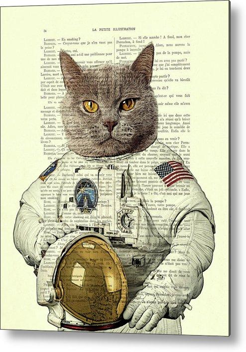Astronaut Metal Print featuring the digital art Astronaut Cat Illustration by Madame Memento