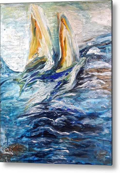 Sailing Metal Print featuring the painting At Sea by Michelle Pier