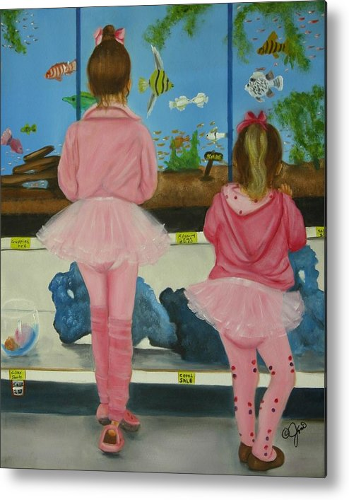 Oil Painting Metal Print featuring the painting At The Pet Store by Joni McPherson