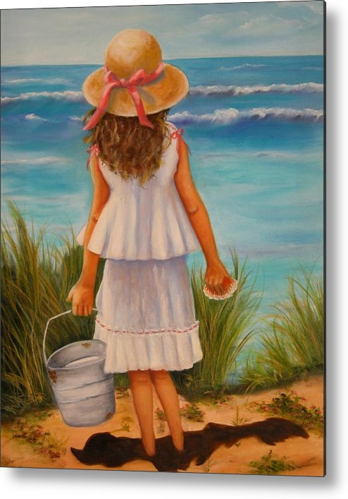 Children Metal Print featuring the painting At The Seashore by Joni McPherson
