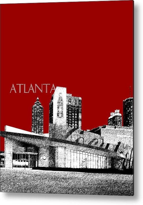 Architecture Metal Print featuring the digital art Atlanta World Of Coke Museum - Dark Red by DB Artist