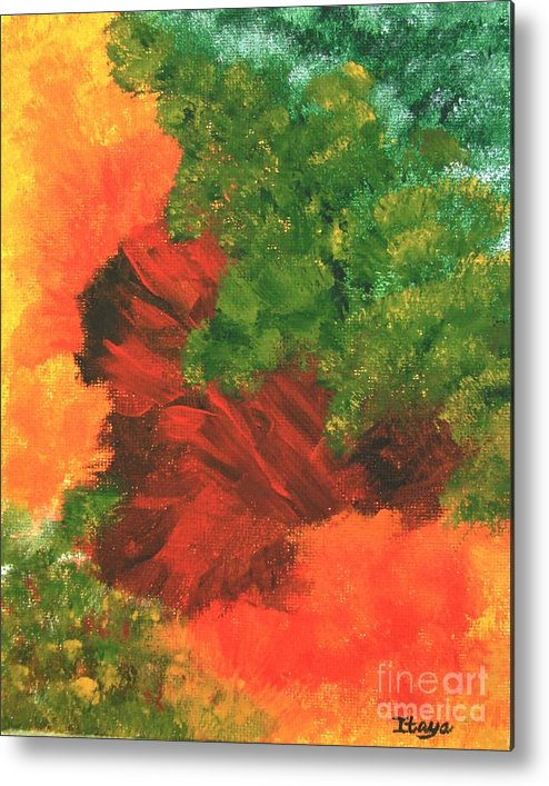 Abstract Metal Print featuring the painting Autumn Equinox by Itaya Lightbourne
