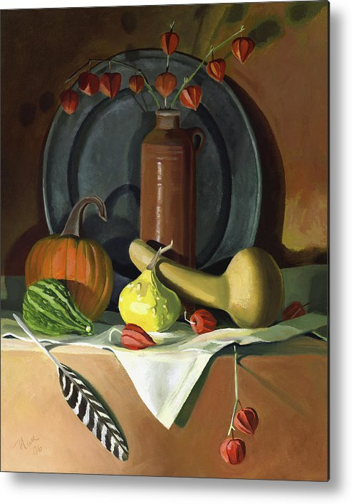 Still Life Metal Print featuring the painting Autumn Still Life by Nancy Griswold