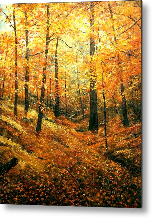 A Painting A Day Metal Print featuring the painting Autumns Hidden Sanctuary by Connie Tom