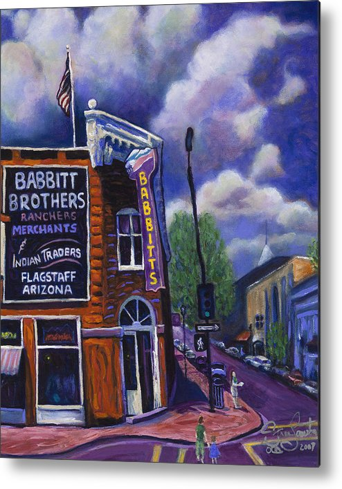 Historic Metal Print featuring the painting Babbitt Bldg. by Steve Lawton